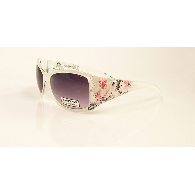 Airwalk Women's 'Swell' White with Flower Detail Fashion Sunglasses