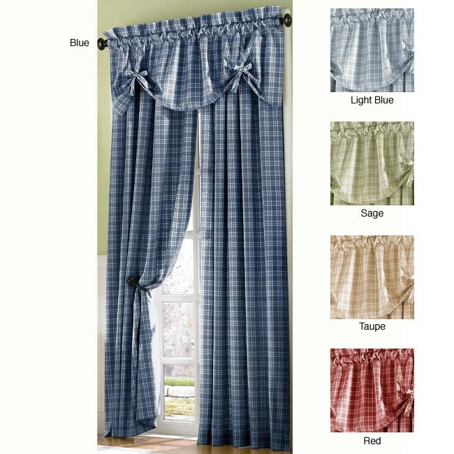 Country Plaid 84 Inch Curtain Panel Pair Free Shipping