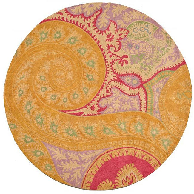 Hand-tufted Wool Orange Transitional Floral Paisley Rug (7'9 Round)