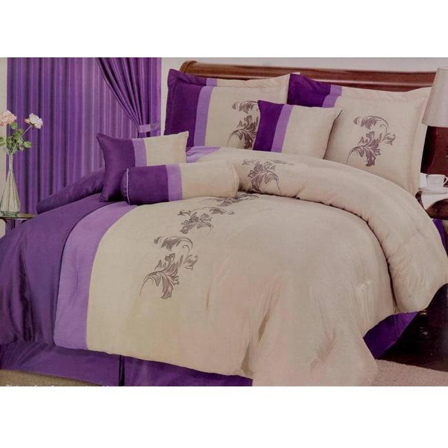 Donna 7-piece Purple Floral Comforter Set