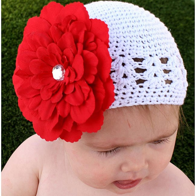Crocheted White Kufi Hat with Unique Red Flower