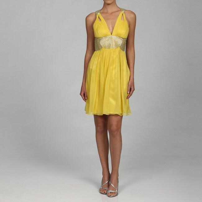 Adrianna Papell Womens Evenings Beaded Waist Short Dress