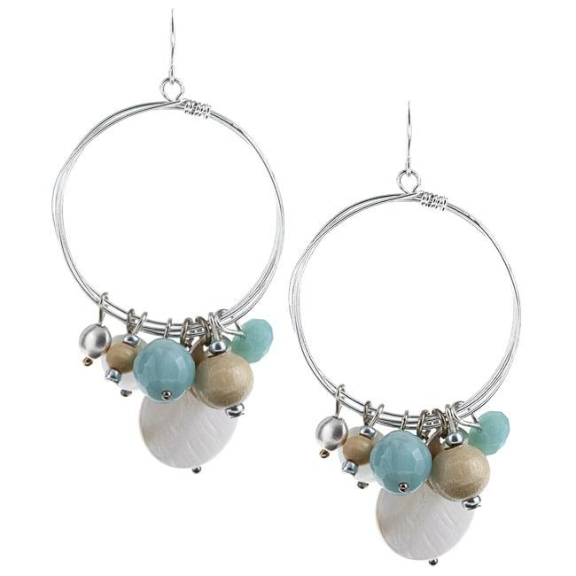 Alexa Starr Amazonite and Shell Hoop Earrings