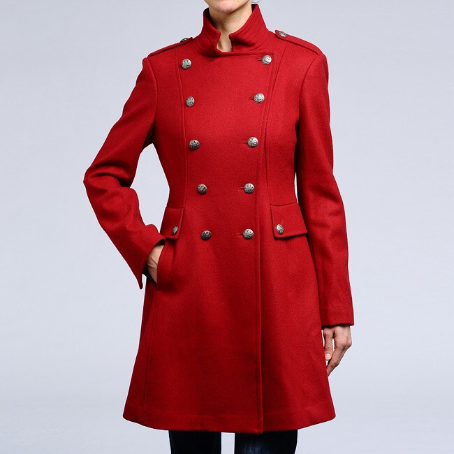 Nicole Miller Women's Scarlet Wool Lace-up Back Military Coat