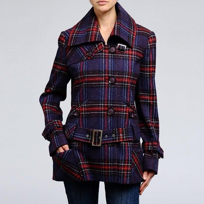 Nicole Miller Women's Plaid Wool-blend Low Belted Coat