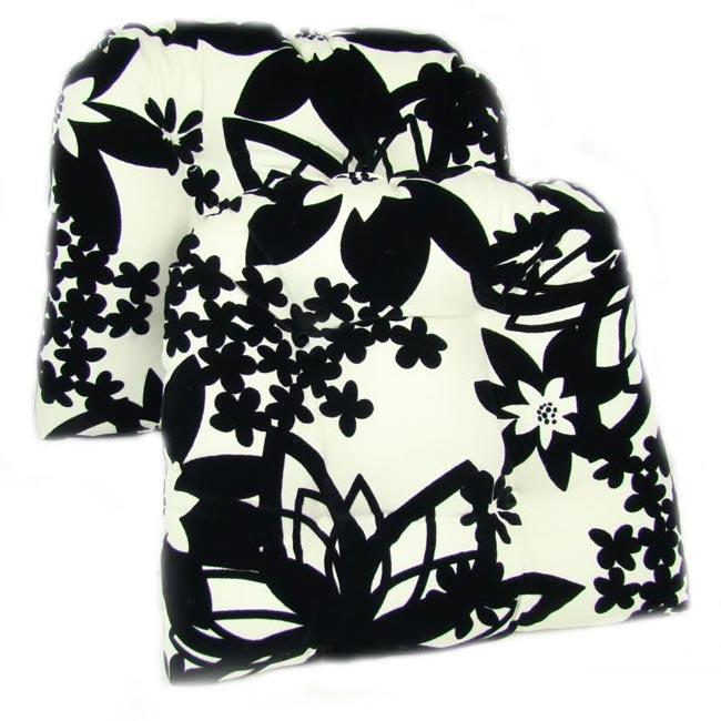 Black White Floral Dining Side Chair Set: Black And White Floral Kitchen/ Dining Chair Pads (Set Of