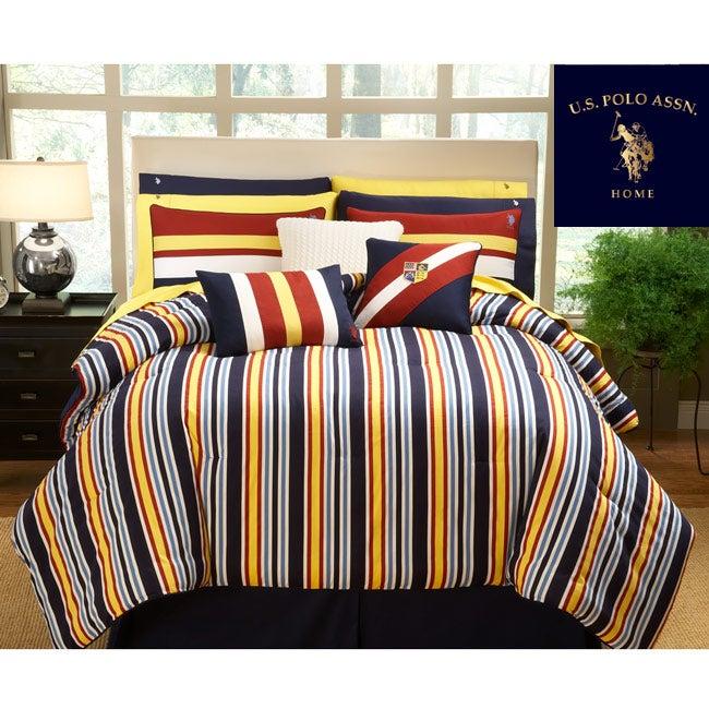 Shop Us Polo Association Sport Stripe 4 Piece King Size Comforter