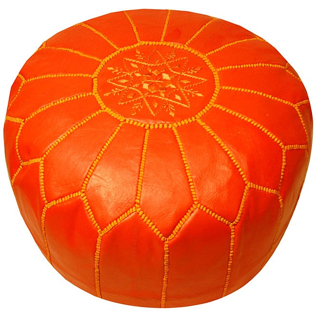 Leather Coral Pouf Ottoman Morocco