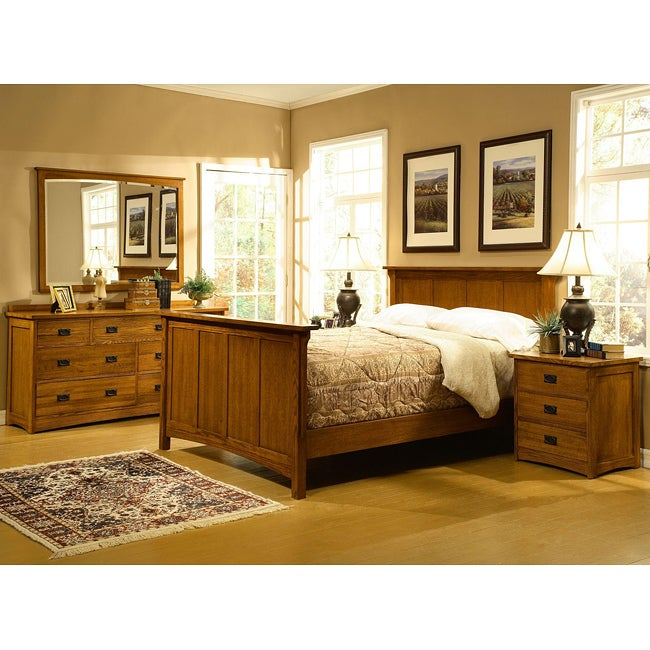 Mission Solid Oak 5 Piece King Panel Bedroom Set W 7