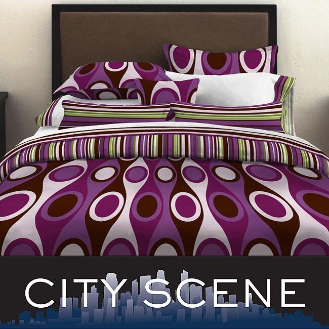 City Scene Retro Radar Purple Full/ Queen-size 3-piece Duvet Cover Set