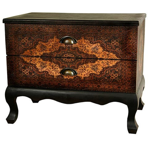 "Handmade Olde-World Euro Two-drawer Cabinet (China) - 24.00""W x 15.00""D x 20.00""H"