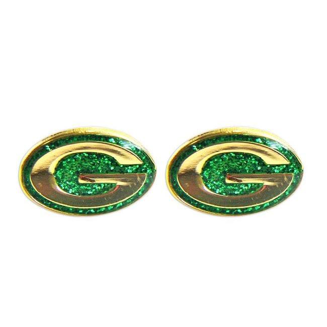 Green Bay Packers Glitter Sparkle Post Stud Logo Earring Set