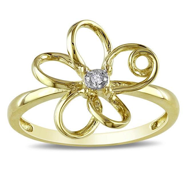 Miadora 10k Yellow Gold Diamond Accent Flower Ring
