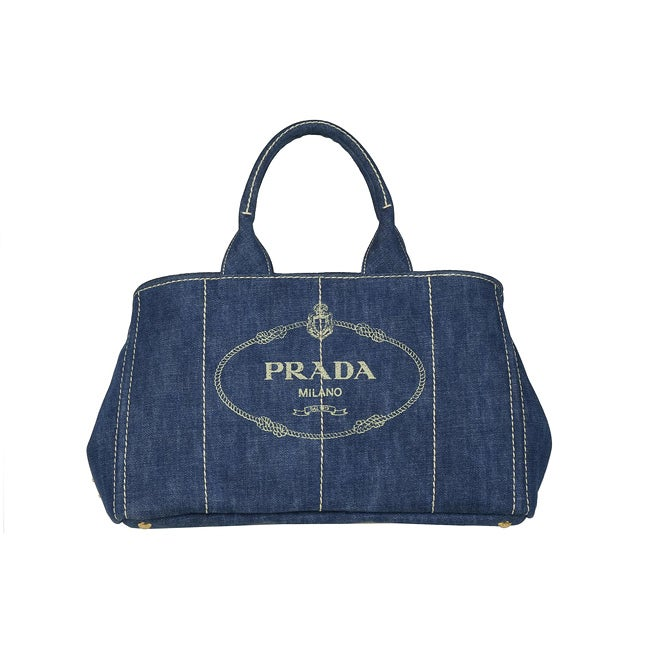 Prada B1872B Blue Denim Tote Bag