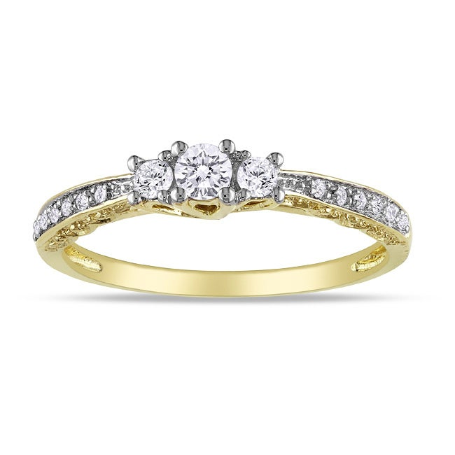 Miadora 10k Yellow Gold 1/4ct TDW Diamond 3-stone Ring
