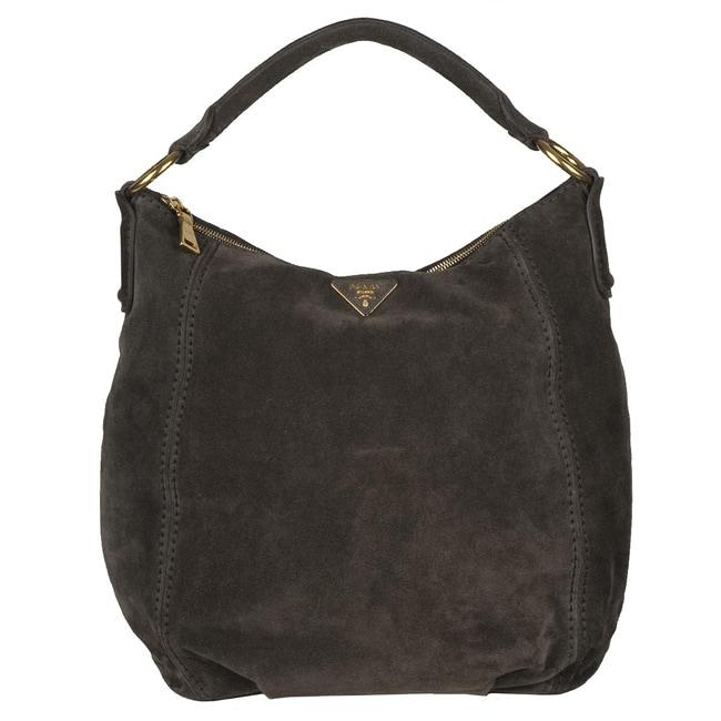 Prada Br4541 Dark Grey Suede Hobo Bag