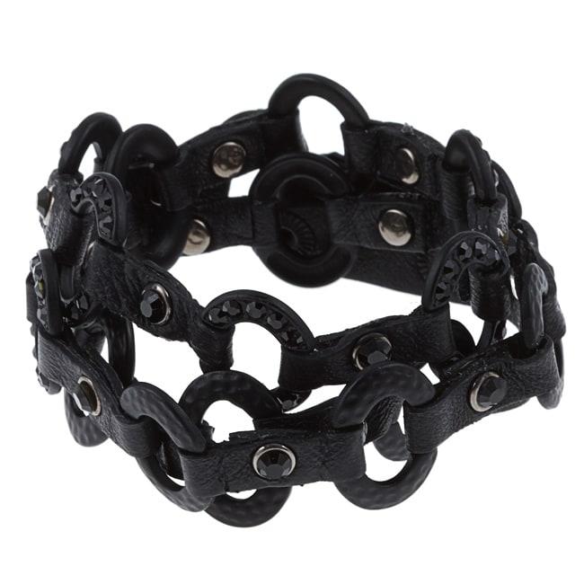 1182324da243 Shop Cara Jet Black Leather Link Wrap Bracelet - Free Shipping On Orders  Over  45 - Overstock.com - 5672654