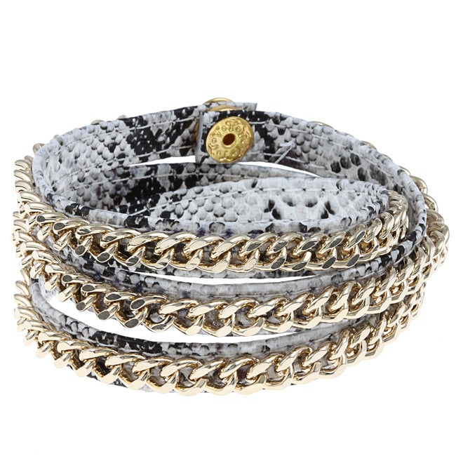 Cara Grey Chain and Leather Wrap Bracelet