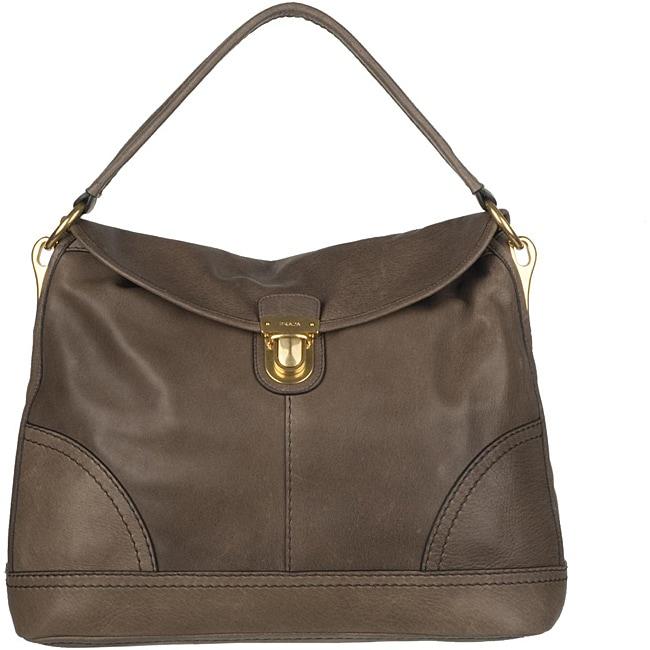 d81fa09adb9b Shop Prada BR4549 Brown Leather Shoulder Bag - Free Shipping Today ...