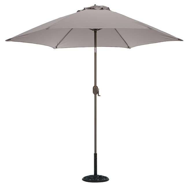 Aluminum Taupe 9 Foot Outdoor Market Umbrella With Crank