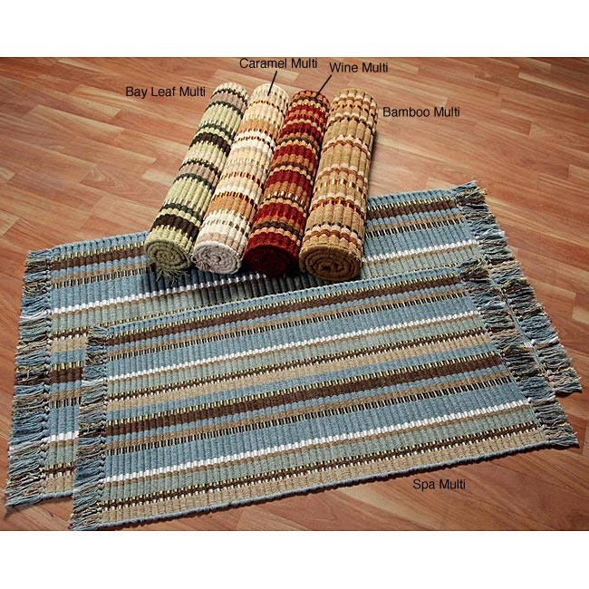 Set of 2 Hand-woven Striped Ribbed Cotton Rugs (1'9 x 2'10/ 2'3 x 3'6)
