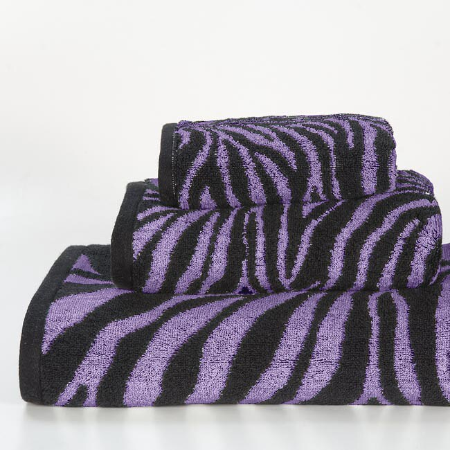 Hot Pink Zebra Bathroom Accessories: Shop Purple Zebra Cotton 3-piece Towel Set