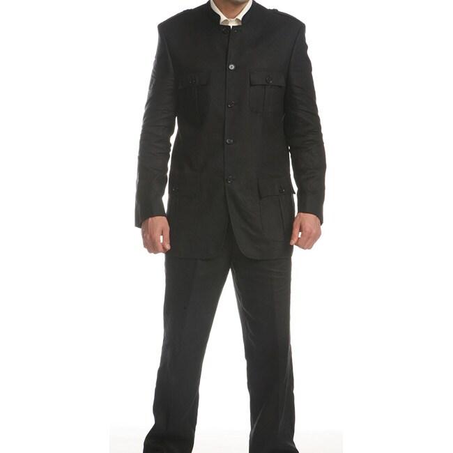 Ferrecci Mens Black Linen Mandarin Collar Suit