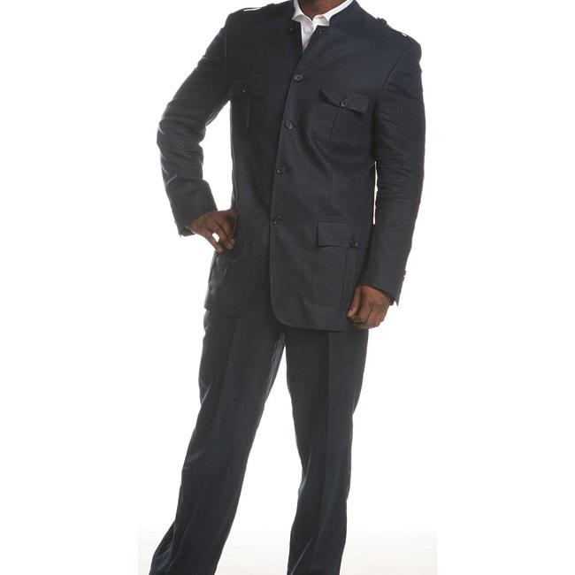 Ferrecci Mens Navy Linen Mandarin Collar Suit