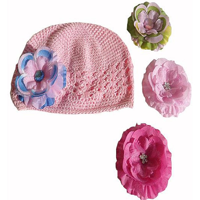 Crocheted Hat with Boutique Flower Clip
