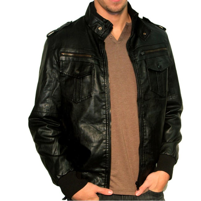 191 Unlimited Men's Faux Leather Stand Collar Jacket