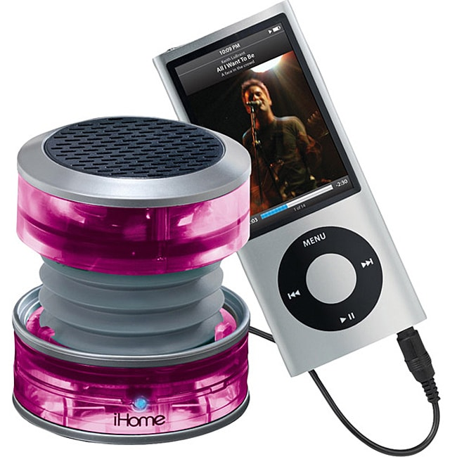 iHome Pink Rechargeable Collapsible Portable Translucent Mini Speaker