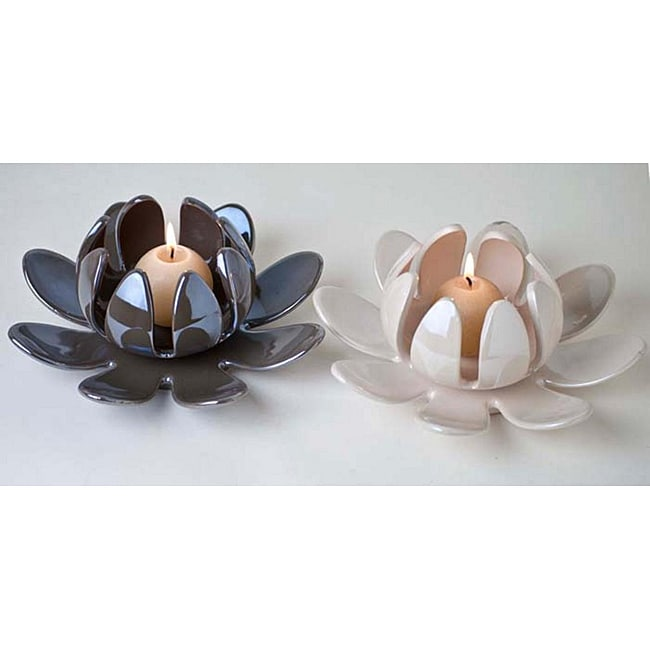 Lotus Flower Porcelain Candleholder Set