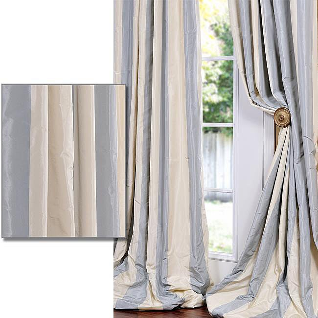 Blue/ Grey/ Gold Stripe Faux Silk Taffeta 84-inch Curtain