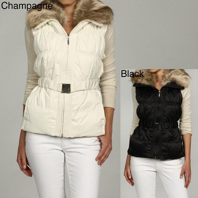 Nine West Women's Faux Fur Trim Belted Vest