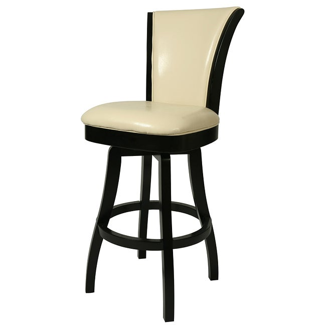 Glenwood 30 Inch Wood Cream Leather Swivel Counter Stool