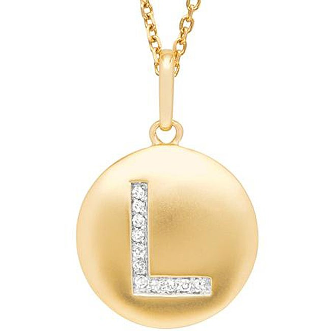 Sterling Silver/ 14k Gold Diamond Accent 'L' Necklace