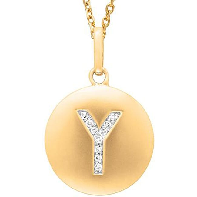 14k Yellow Gold Overlay Diamond Accent Initial 'Y' Necklace