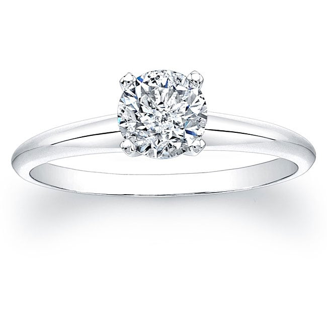 14k White Gold 3/4ct TDW Certified Diamond Solitaire Engagement Ring - Thumbnail 0
