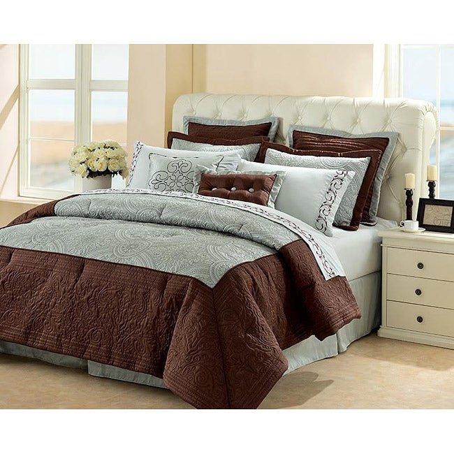 Chocolate/ Blue Rochelle 4-piece Comforter Set