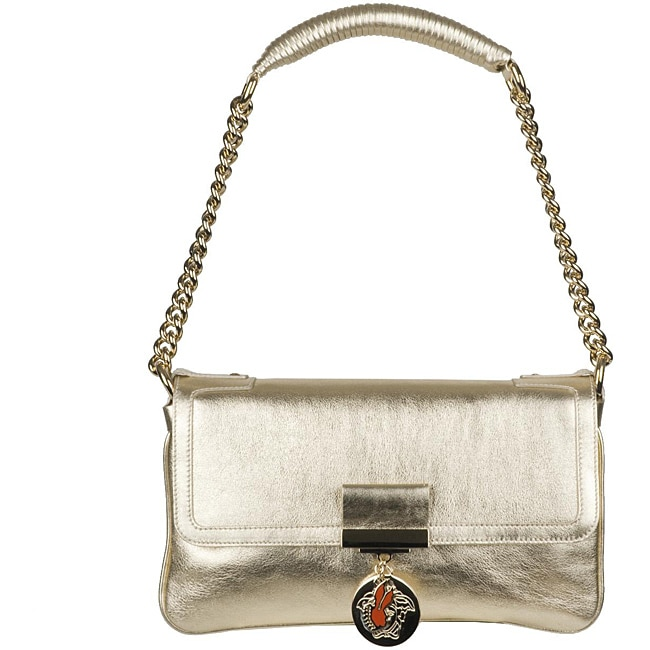 Versace Alice Small Leather Metallic Shoulder Bag