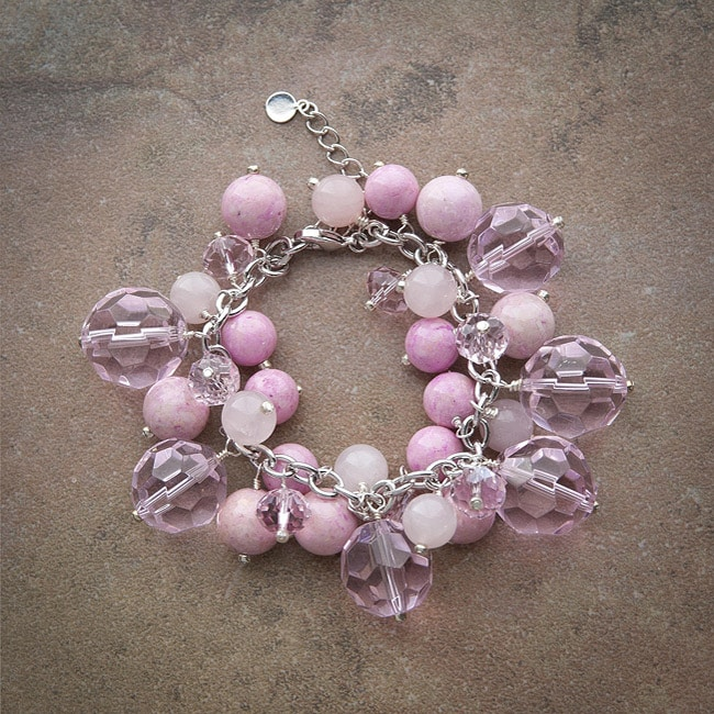 Fashion Forward Pewter Rose Quartz/ Riverstone Bubbles Bracelet