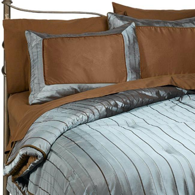 Two Tone 8-piece King-size Bed in a Bag with Sheet Set