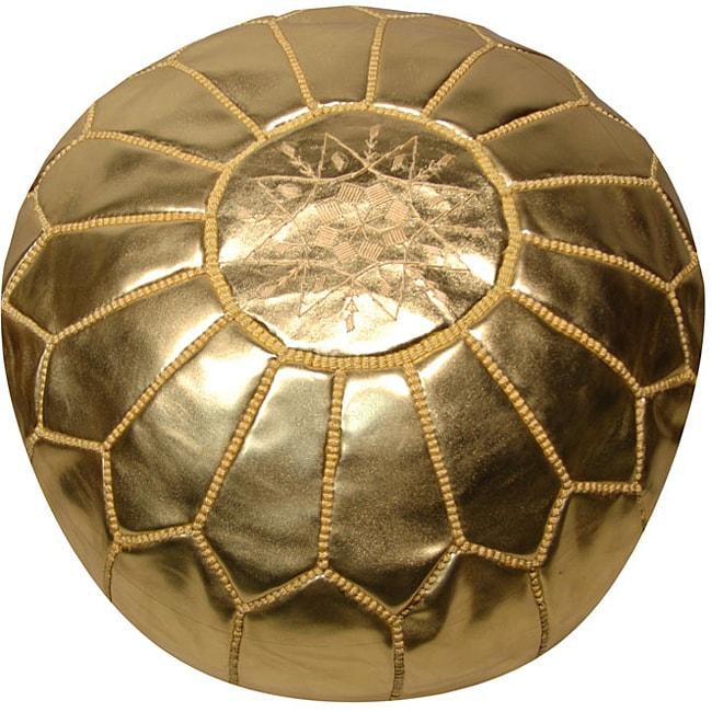 Leather Metallic Gold Pouf Ottoman (Morocco)
