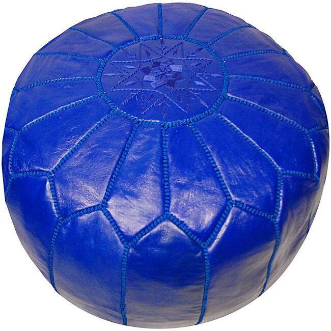 Handmade Leather Royal Blue Pouf Ottoman (Morocco)