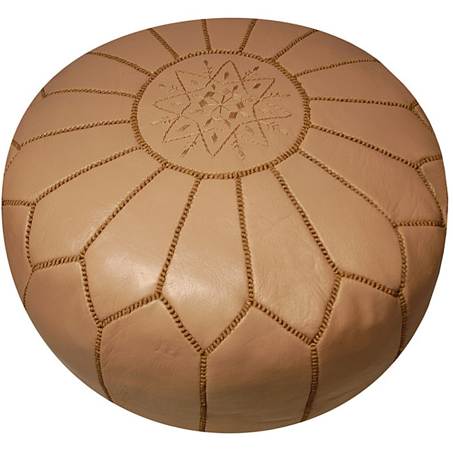 Leather Taupe Pouf Ottoman (Morocco)