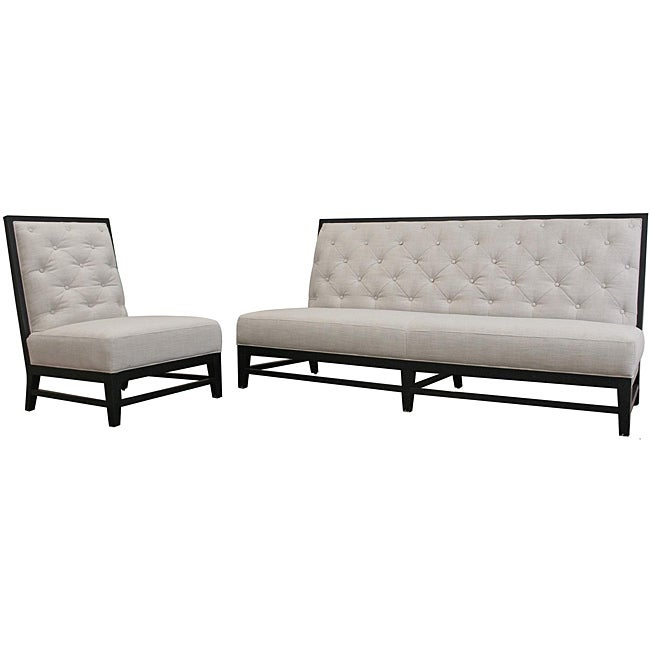 Bristol Tufted Grey Linen Modern Sofa Set