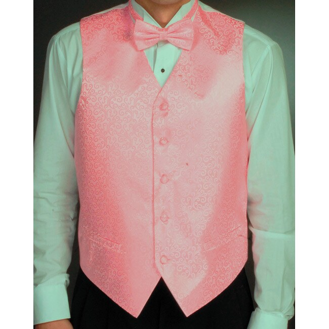 Ferrecci Men's Pink Four-piece Vest Set