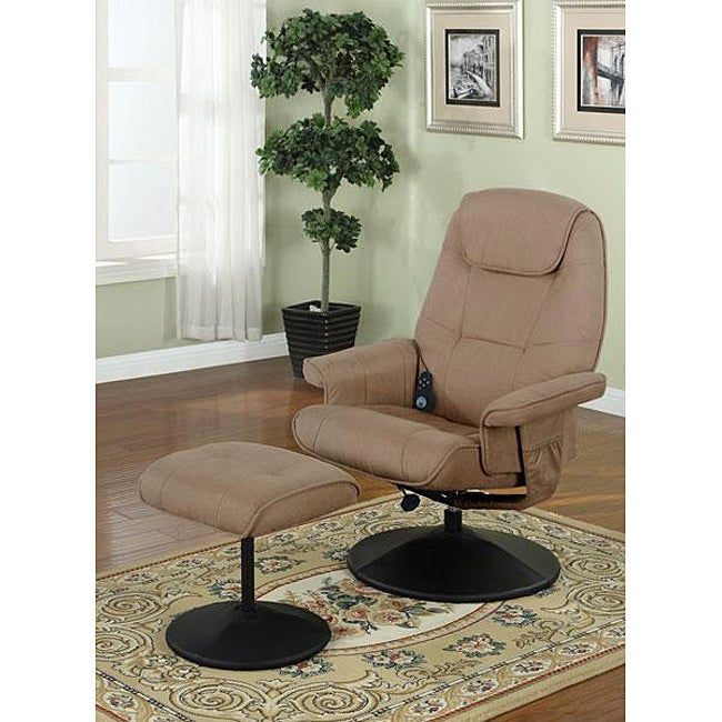Saddle Microfiber 2-piece Massage Recliner Chair and Ottoman Set