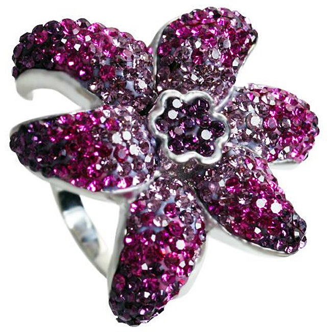 Gioelli Sterling Silver Shades of Purple Flower Crystal Ring