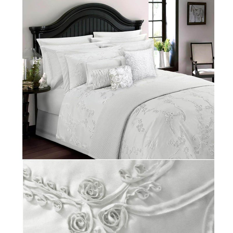 Luxury Handmade Cotton White Soutache 5-piece Queen-size Comforter Set